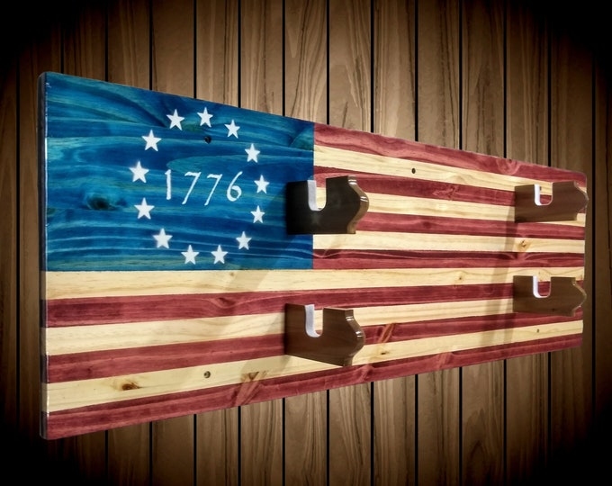 2 Place Flag Gun Rack 1776 Americana Knotty Pine Rifle Shotgun Handmade Cabin Man Cave Decor Gift