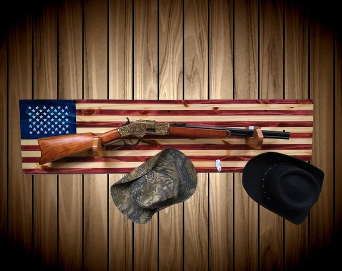 American Flag Gun Rack Knotty Pine Wall Mount Rifle Shotgun Handmade Americana Cabin Man Cave Hunting Decor Gift