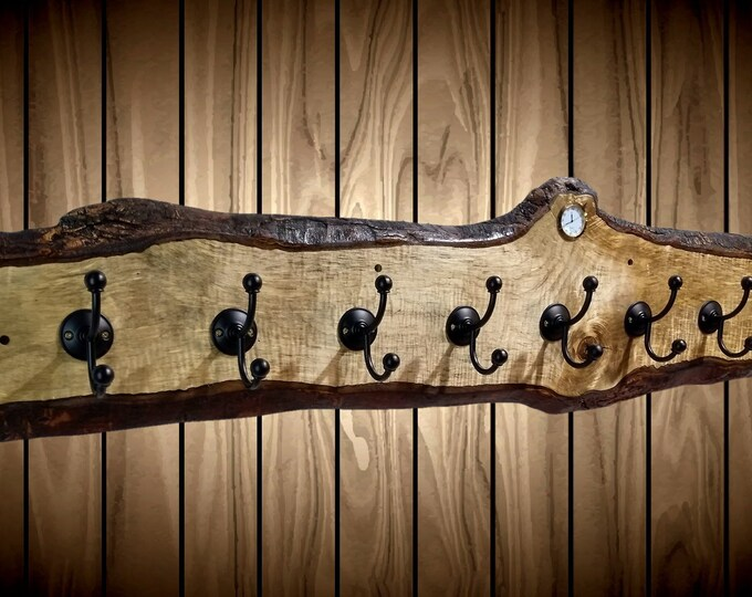 "Live Edge Coat Rack 8 Pegs Clock 52"" Rustic Maple Entryway Home Cabin Decor Gift"