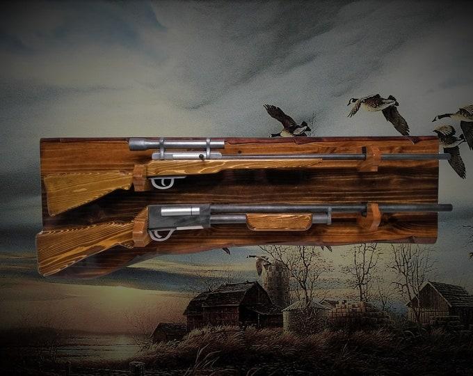 Rustic 2 Place Gun Rack Knotty Pine Wall Mount Rifle Shotgun Display Hunting Décor, Gift, FREE SHIPPING