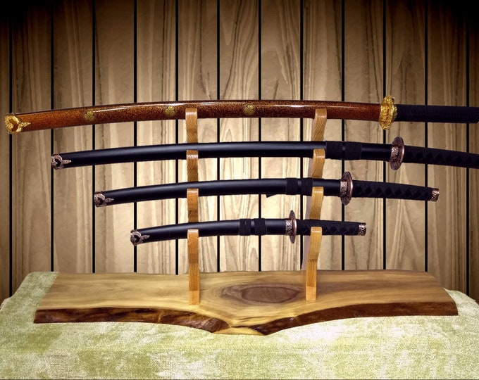 4 Tier Sword Display Stand Rustic Walnut  Katana Wakizashi Tanto Samurai Mantel Desk Top Japanese Decor Gift