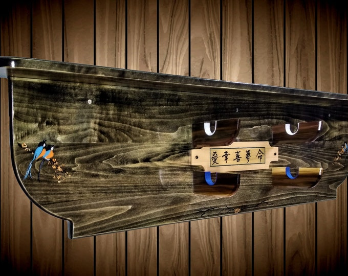 2 Tier Katana Black Sword Rack Samurai Display Shelf Hand Painted Japanese Song Birds  and Special Words  Handcrafted Custom Made