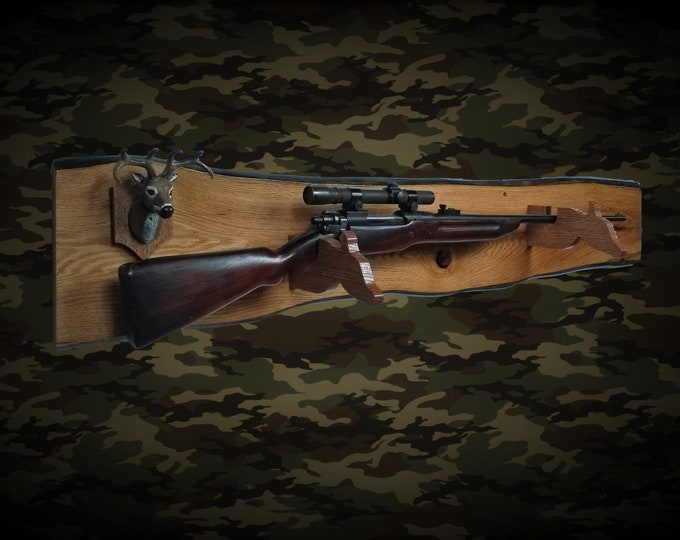 Rustic Deer Hunter Gun Rack Live Edge Oak Wall Mount Shotgun Rifle Home Cabin Decor Gift, Free Shipping