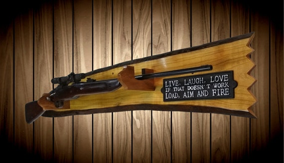 Rustic Gun Rack, Wall Mount, Live Edge Red Maple, Unique Hunters Plaque, Man Cave, Cabin, Home, Wall Decor, Gift, FREE SHIPPING