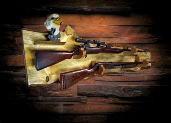 Raw Nature Rustic 2 Place Gun Rack Live Edge Knotty Pine Cherry Hangers Shelf Rifle Shotgun Muzzle Loader Home Cabin Decor Gift