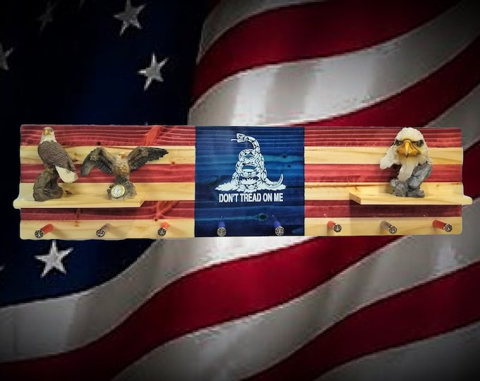 Don't Tread On Me Flag Coat Rack Shelf Wall Hanging Shotgun Shell Pegs Americana Patriotic Decor, Gift, FREE SHIPPING