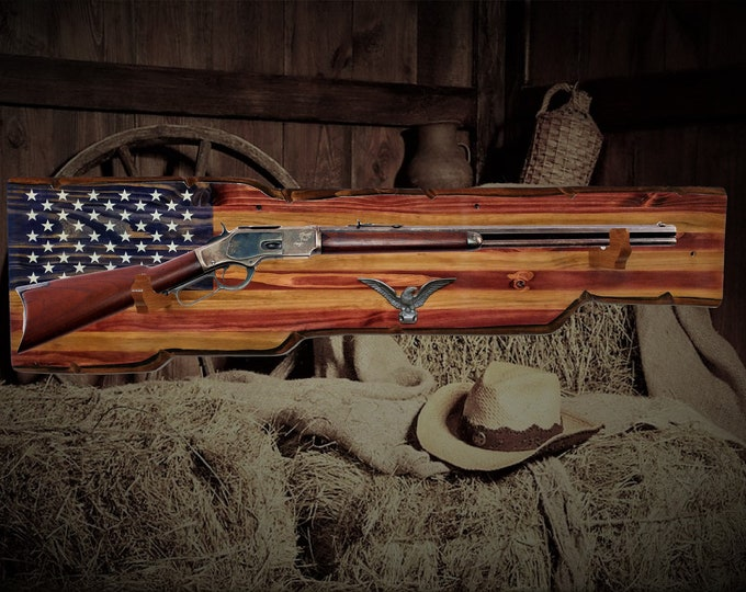 Rustic American Gun Rack Wall Mount Designed For Lever Action Long Rifle Unique Gift. Shipping Included