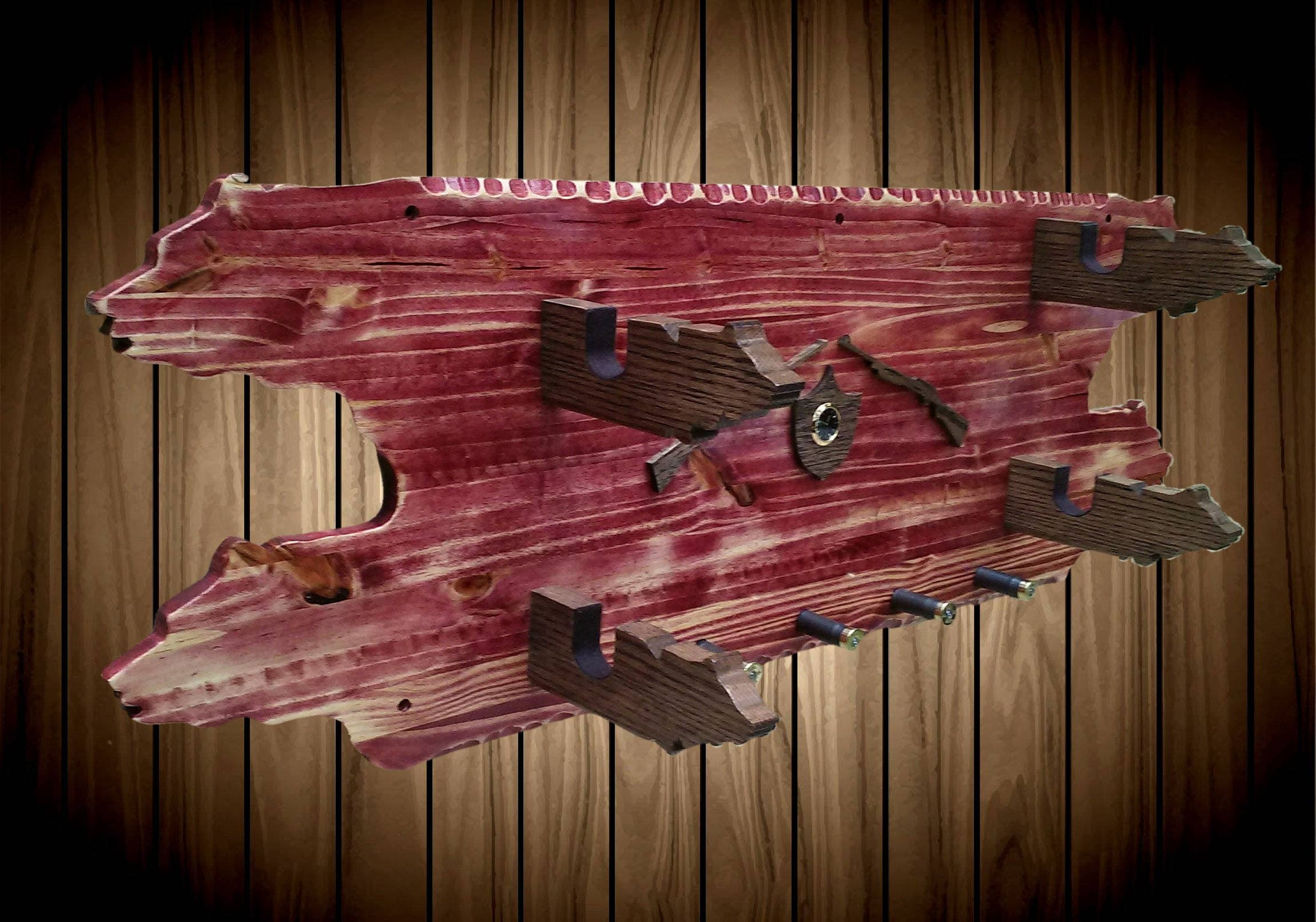 2 Place Wood Wall Gun Hat Coat Rack Cabernet Stained