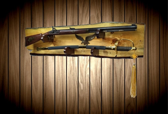 Rustic Gun Rack with Sword  Display Live Edge Knotty Pine Iron Eagle Cabin Lodge Vintage Military Decor Gift