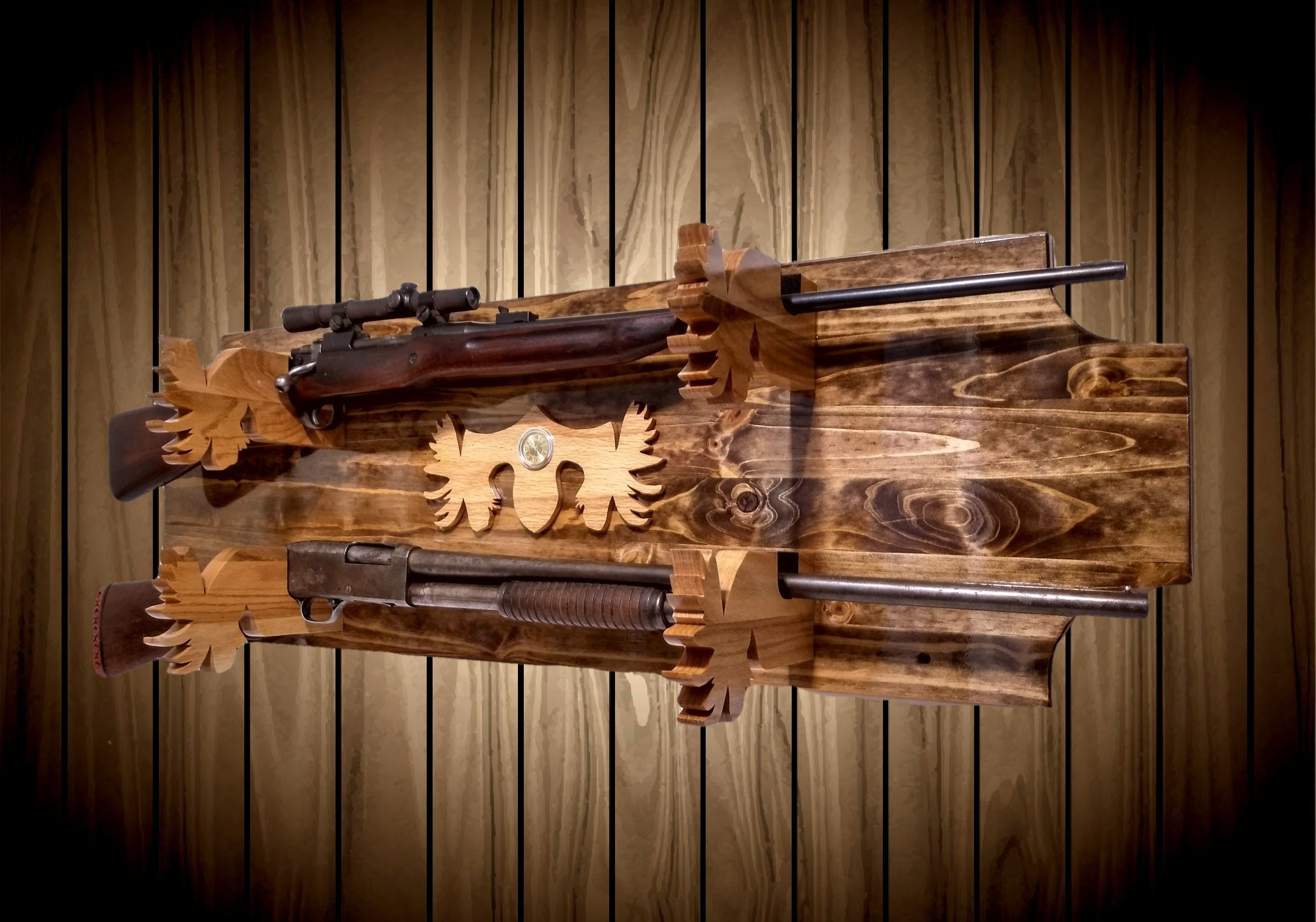2 Place Knotty Pine Gun Rack Wall Mount Moose Holders And