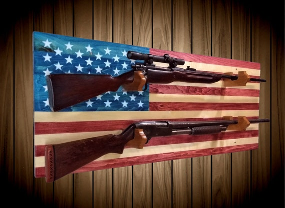American Flag Gun Rack 2 Place Aspen Wood Wall Mount Rifle Shotgun Muzzle Loader Handcrafted Man Cave Americana Decor Gift