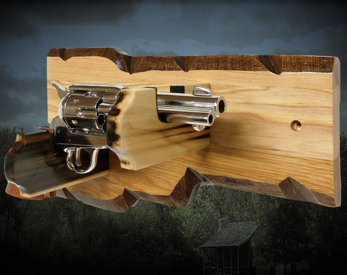Unique Gun Rack Pistol Display Faux Edge Hickory Vintage Western Cabin Décor Gift, FREE SHIPPING