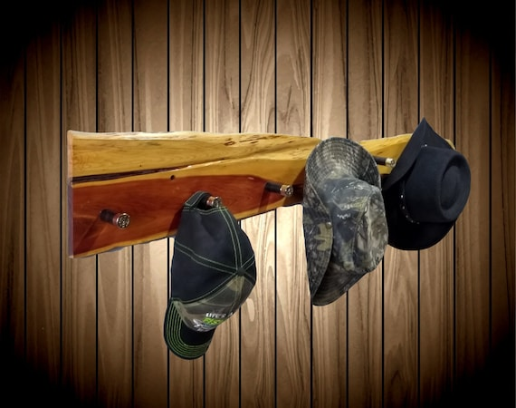 Rustic Hat Coat Rack, 6 Black Shotgun Shell Pegs, Natural Gloss Finish, Home Cabin Decor, Handcrafted Gift, FREE SHIPPING