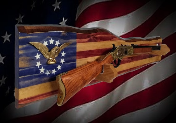 Patriotic Gun Rack Rustic Wall Display Gold Eagle Rifle Cabin Flag Décor, Gift FREE SHIPPING