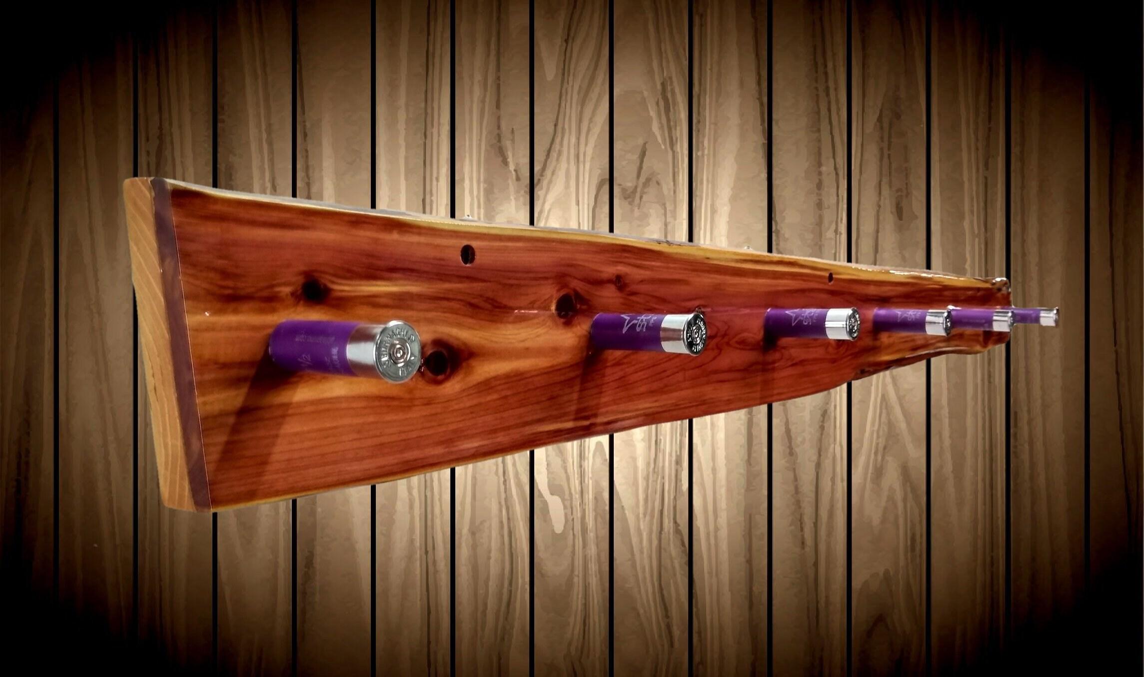 Rustic Cedar 6 Purple Shotgun Shell Pegs Wall Hat Coat