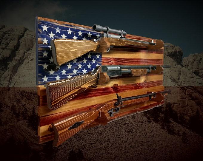 Old Glory 3 Place Rustic Flag Gun Rack Knotty Pine Rifle Shotgun Patriotic Décor Gift, FREE SHIPPING