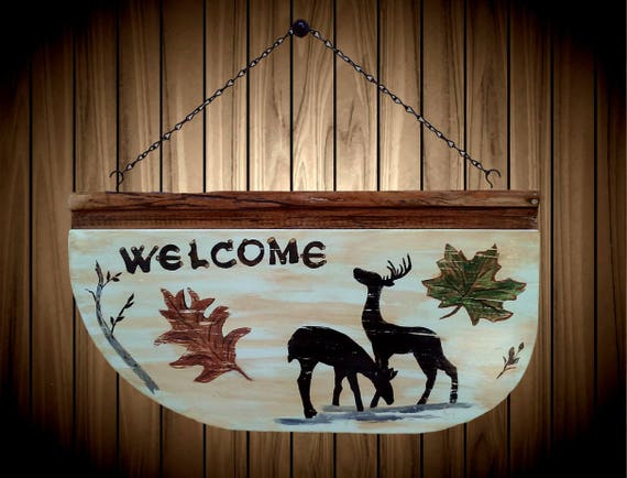Faux Welcome Wall Plaque Hand Painted on Reclaimed Wood Home Country Cabin Decor Gift