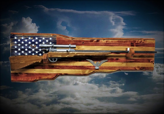 Rustic Flag Gun Rack Rifle Shotgun Display Vintage Military Patriotic Eagle Décor Fathers Day Gift, FREE SHIPPING