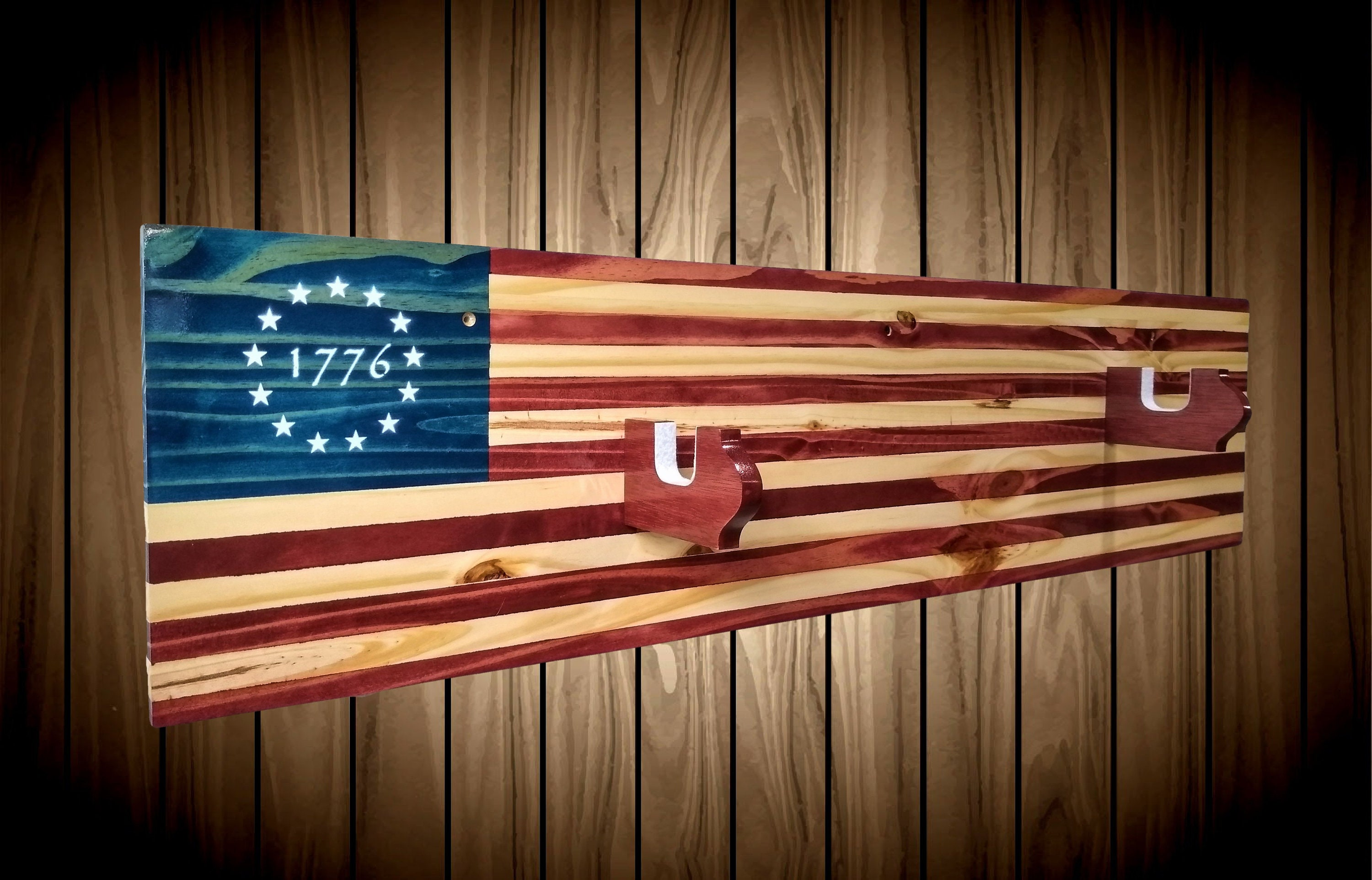 Patriotic 1776 American Flag Gun Rack Knotty Pine Wall