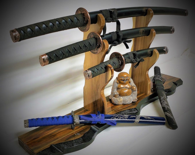 Rustic Katana Samurai Display 3 Tier Sword Stand Solid Base Vintage Japanese Décor, Gift, FREE SHIPPING