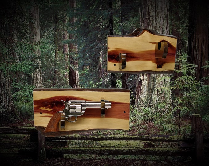 Pair Rustic Pistol Displays Gun Rack Live Edge Knotty Red Cedar Vintage Western Cabin Décor  Gift, FREE SHIPPING