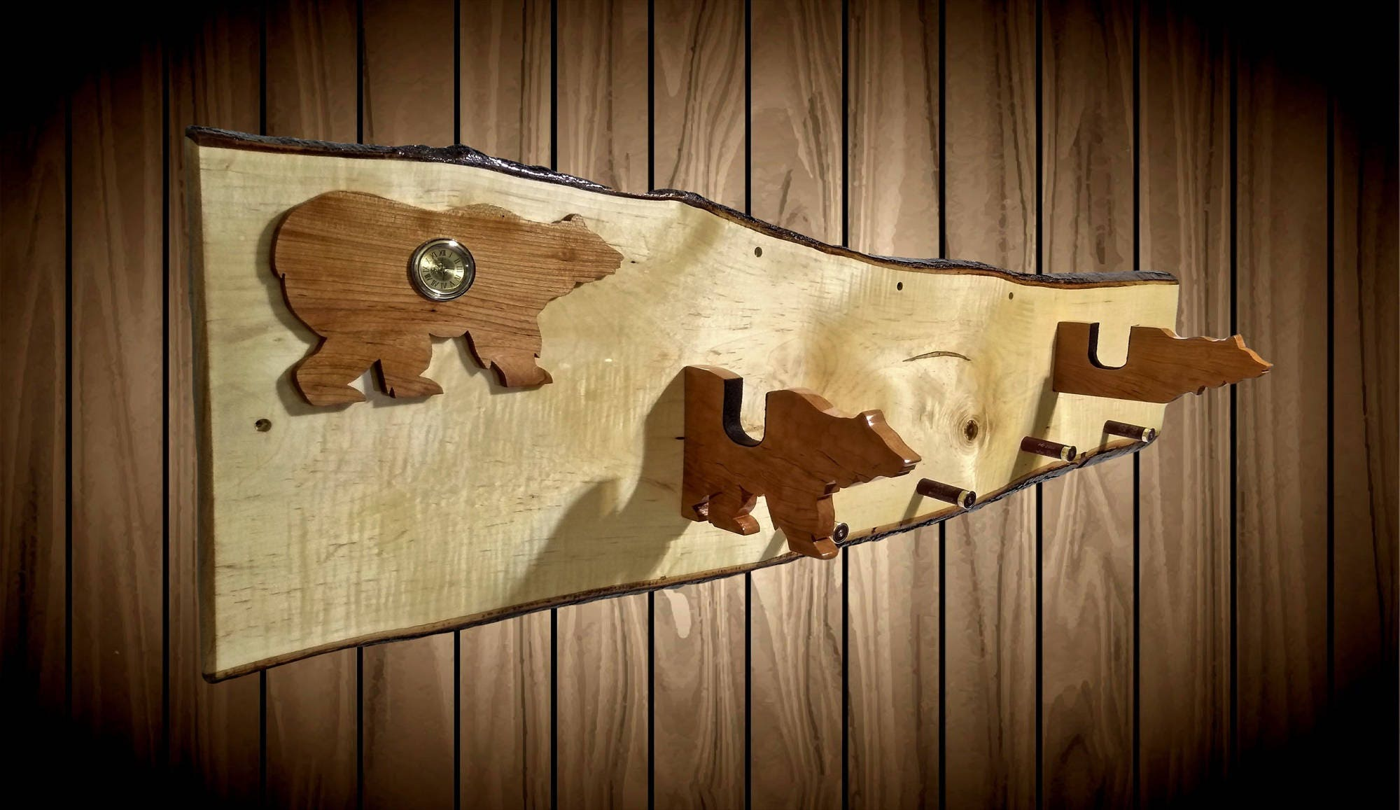 Rustic Gun Rack Live Edge Maple Clock Walking Cherry Bear Hangers ...