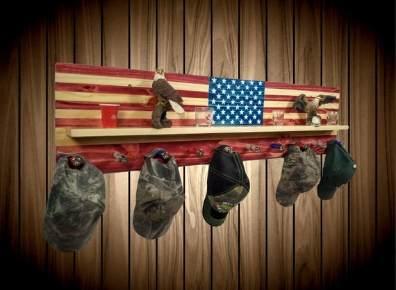 American Flag, Wall Hanging Rack with Display Shelf, 10 Shotgun Shell Pegs, Americana Decor, Gift, FREE SHIPPING