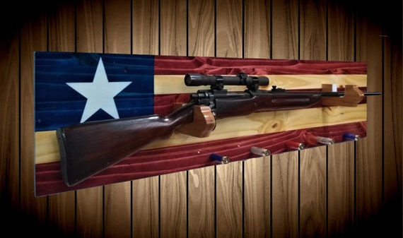 Texas Gun Rack, Knotty Pine Wall Mount, Rifle Shot Gun Shell Pegs, Americana, Cabin Man Cave, Flag, Decor Hunting Gift, FREE SHIPPING