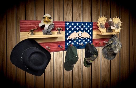 Patriotic Hat Coat Rack Wall Hanging Shelf 9 Shotgun Shell Pegs Bedroom Decor, Gift, FREE SHIPPING