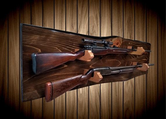 Rustic 2 Place Gun Rack, Live Edge Knotty Cypress, Walnut Finish, Oak Hangers, Rifle Shotgun Muzzle Loader Home Cabin Decor Gift