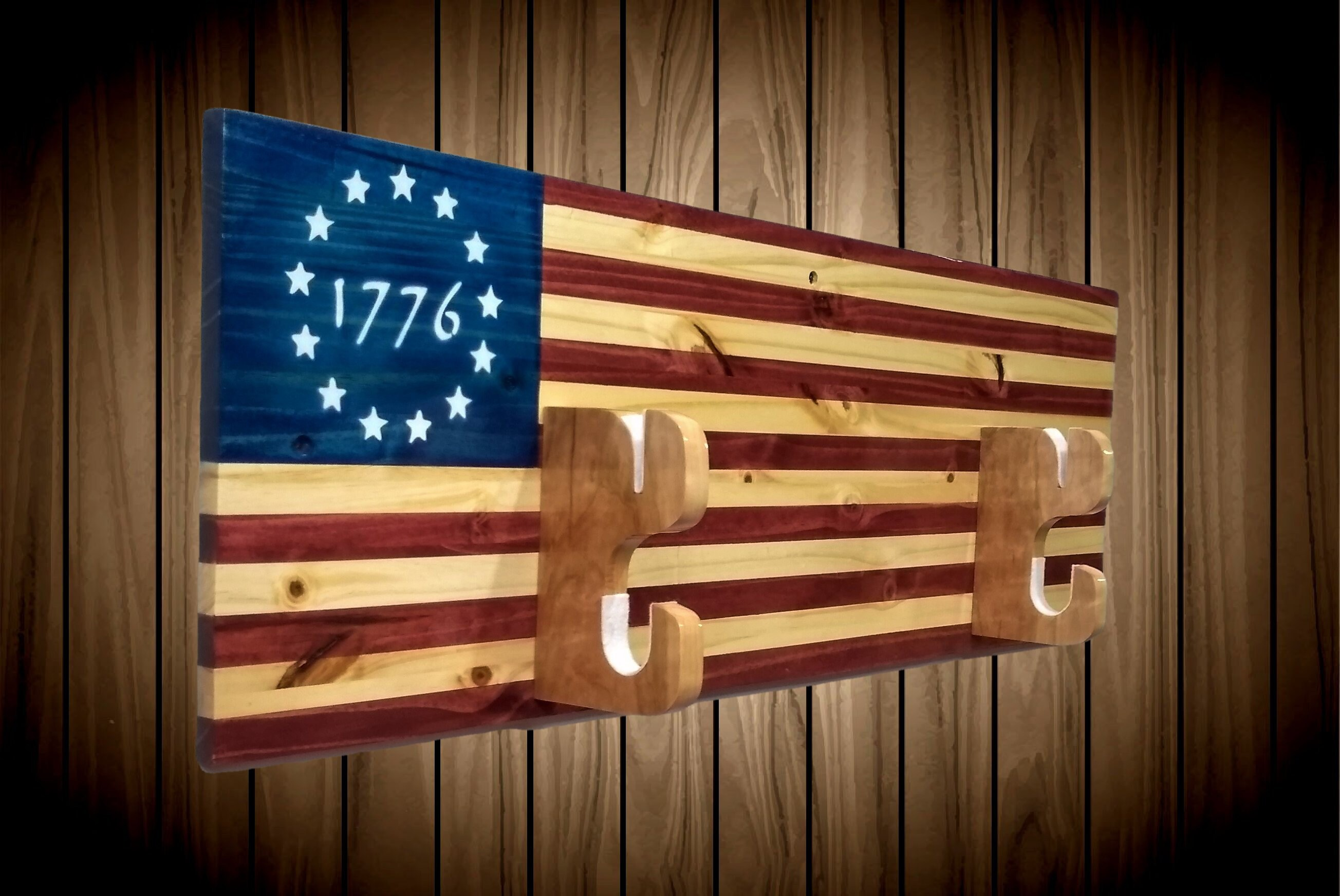 Custom 1776 Flag Military Sword Rack Display, Wall Mount