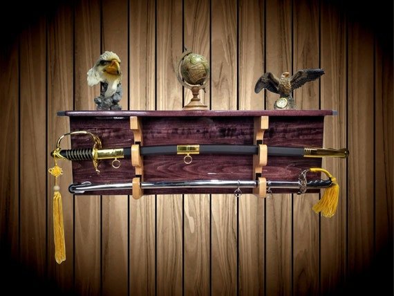 Sword Display Rack w/Shelf, Wood Wall Mount, Black Cherry Finish, Natural Cherry Hangers, Military Saber, Katana Samurai Decor