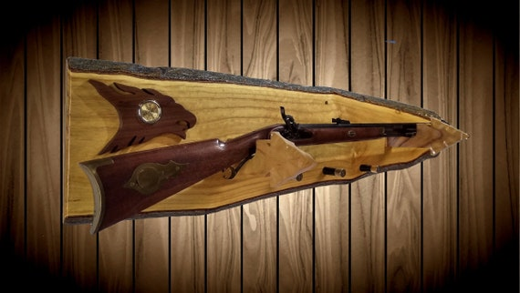Rustic Gun Rack, Wall Mount, Live Edge, Clock, Arrowhead Holders, Shotgun Shell Pegs, Gift, FREE SHIPPING