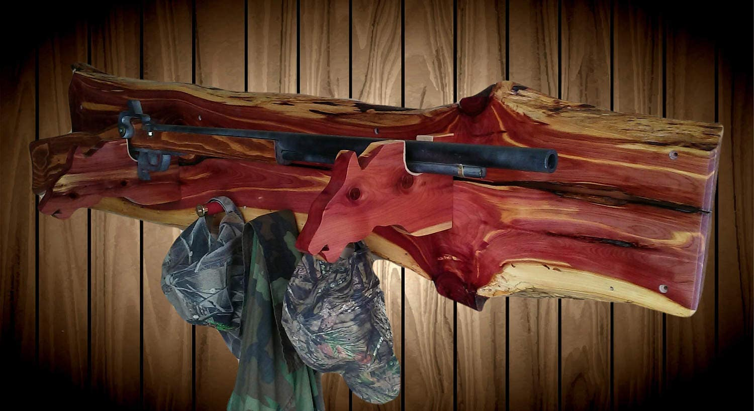 Knotty Red Cedar Wood Wolf Gun Hat Coat Rack A Great