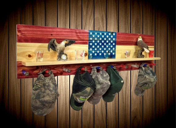 American Flag Rack , Wall Hanging Display with Shelf, 10 Shotgun Shell Pegs, Americana Decor, Fathers Day Gift