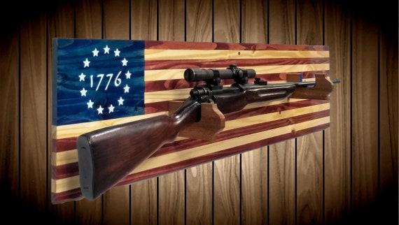 Patriotic 1776 American Flag Gun Rack Knotty Pine Wall Mount Rifle Shotgun Handmade Americana Cabin Man Cave Hunting Decor Gift
