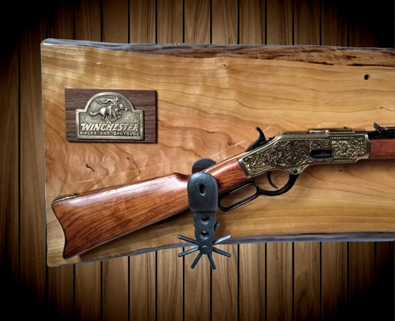 Rustic Gun Rack, Live Edge Cherry, Cast Iron Spur Hangers, Brass Winchester Rifle Plaque, Cowboy, Western, Lever Action Rifle, Handmade Gift