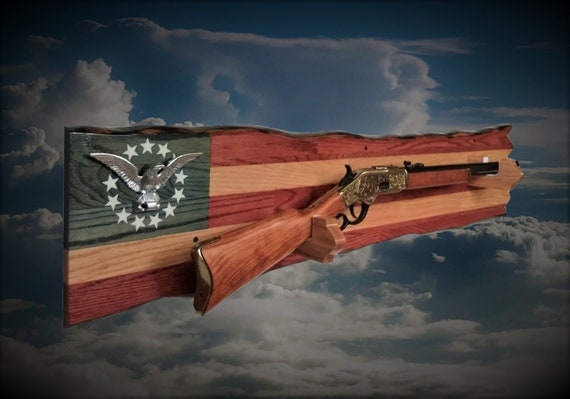 Rustic Oak Silver Eagle Gun Rack Wall Mount Rifle Display Patriotic Flag Decor, Fathers Day Gift, FREE SHIPPING