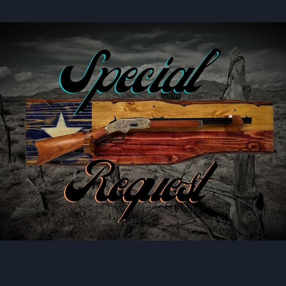 Special Request Rustic Texas Gun Rack Knotty Pine Wall Mount Lever Action Rifle Display Lone Star Flag Décor, Gift, FREE SHIPPING