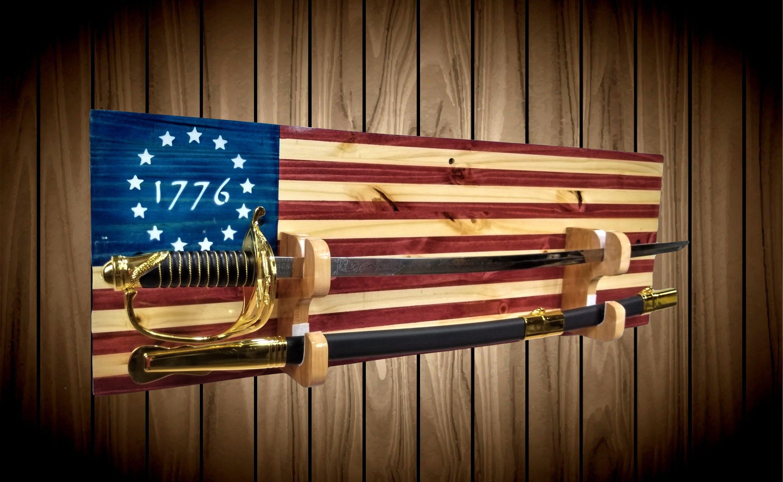 Custom 1776 Flag Military Sword Rack Display, Wall Mount
