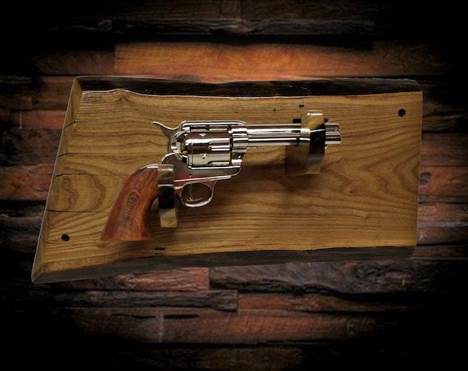 Rustic Pistol Display Gun Rack Live Edge Butternut Vintage Western Cabin Décor Gift, FREE SHIPPING