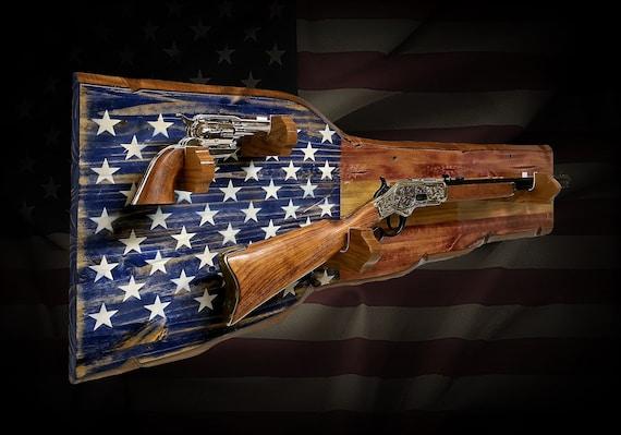 Rustic Americana Rifle Pistol Gun Rack Display Vintage Military Patriotic Wall Décor Gift, FREE SHIPPING