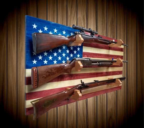Wall Mount American Flag Gun Rack, 3 Place Aspen, Rifle Shotgun Muzzle Loader, Handcrafted Man Cave Americana Decor, FREE SHIPPING