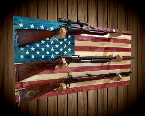 American Flag Gun Rack 3 Place Aspen Wood Wall Mount Rifle Shotgun Muzzle Loader Handcrafted Man Cave Americana Decor Gift