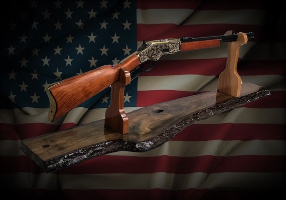 Rustic Gun Rack Stand Live Edge Walnut Finish Lever Action Rifle Display Mantel Table Top Western Decor, Fathers Day Gift, FREE SHIPPING