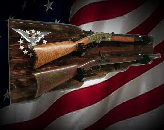 Rustic 2 Place Gun Rack 13 Star Silver Eagle Dark Finish Wall Mount Rifle Shotgun Display Gift, FREE SHIPPING
