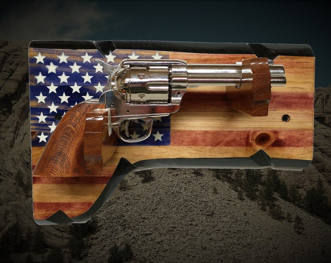 Vintage Pistol Display Rustic Old Glory Gun Rack Knotty Pine Patriotic Décor Gift, FREE SHIPPING