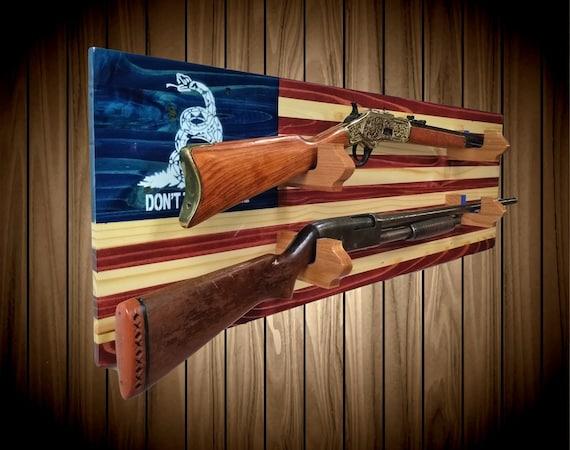 Don't Tread On Me 2 Place American Flag Gun Rack Knotty Pine Rifle Shotgun Handmade Americana Cabin Man Cave Decor Gift