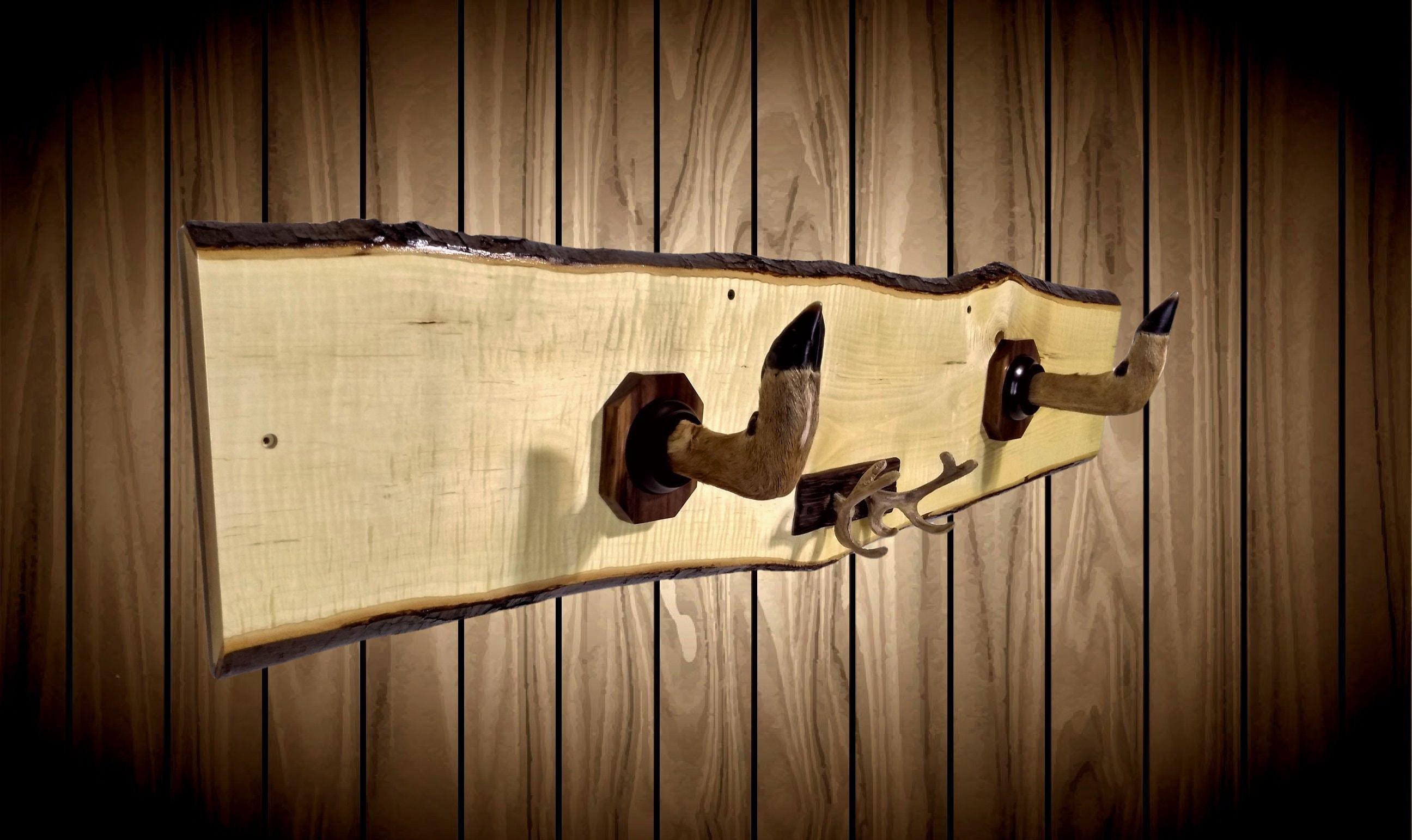 Rustic Deer Hoof Gun Rack Wall Mount Live Edge Maple Cast Iron ...