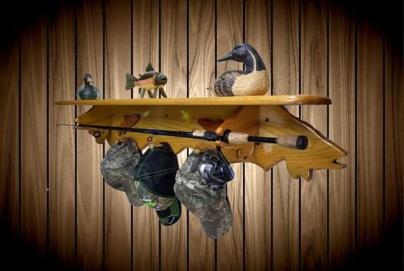 Wood Fish Wall Shelf, Hat Rack, Rod Pole Holder, Home Cabin Lodge Fishing Decor Handmade Gift